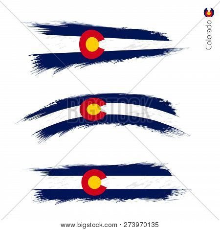 Set Of 3 Grunge Textured Flag Of Us State Colorado, Three Versions Of State Flag In Brush Strokes Pa