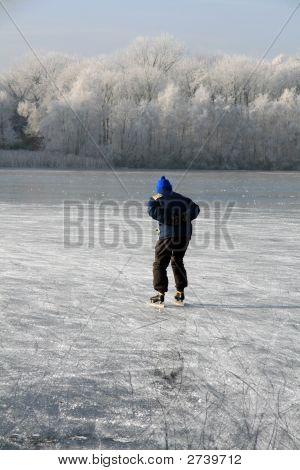 Older Ice Skating Man