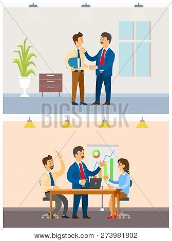 Working Task Or Business Meeting, Office Workers. Boss And Employees, Company Statistics Discussion,