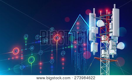 5g Communication Tower For Wireless Hi-speed Internet. Mobile Network Technology In City Life Concep