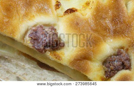 Bread With Sausage Called Focaccia Con Salsiccia In Italian Language