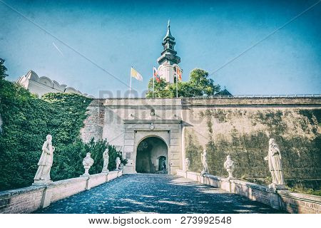 Ancient Castle In Nitra, Slovak Republic. Cultural Heritage. Architectural Theme. Place For Worship.