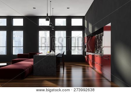 Black And Marble Kitchen Interior, Island