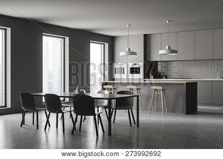 Gray Kitchen Corner, Bar And Table