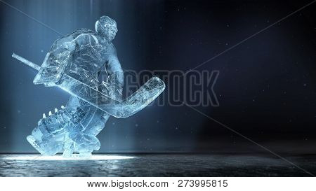 Translucent Ise Sculpture Of Ice Hockey Goalie In Dinamic Pose With Dramatic Light And Dust Particle
