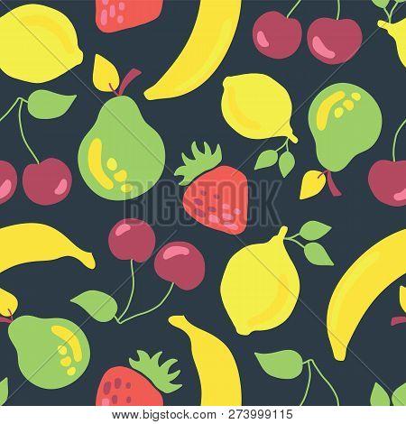 Fruits Seamless Vector Pattern. Vintage Inspired Banana Cherry Lemon Strawberry Pear Seamless Tile O