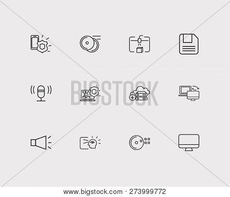 Electronics Icons Set. Steamroller And Electronics Icons With Bullhorn, Antivirus And Mobile Securit