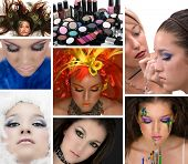 Cosmetics; model with many different make ups poster