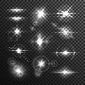 Set of isolated star flare or light effect through lens on transparent background. Burst backdrop template or bokeh, glowing beam and bleak, bright explosion and ray radiance. Explosion, illumination poster