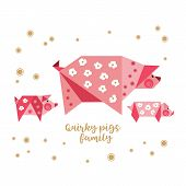 Quirky origami piggy icon. Flat hand drawn fun vector colorful characters. Cute fat mother pig, baby pigs geometric shape cartoon illustration. Craft paper folding childlike origami design element poster