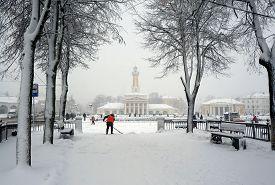 Winter City , Snowstorm, Old Park And Landmark