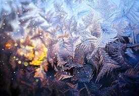 Frosty Pattern On A Window Winter Glass