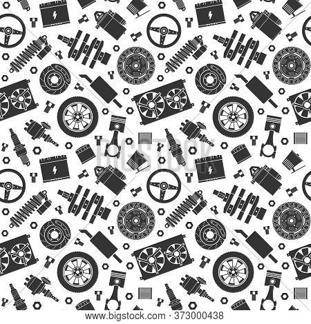 Auto Spare Parts Seamless Pattern. Car Repair Silhouette Icon Texture And Background