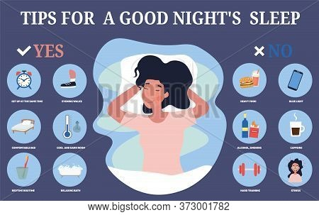 Infographic Showing Tips For A Restful Sleep At Night With Positive And Negative Pointers On Either