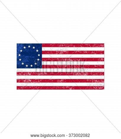 Betsy Ross Flag, Victory 1776, Independence Day. American Betsy Ross Flag.grunge American Flag