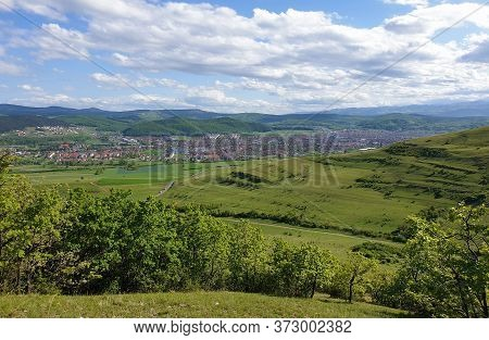 Floresti Landscape Seen From A Green Hill With Summer Sky. Floresti Is The Biggest Commune (rural Se