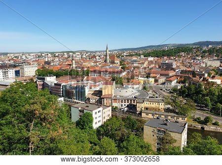 Cluj-napoca, Romania - May 23, 2020: Cityscape With City Center Buildings After Coronavirus Lockdown