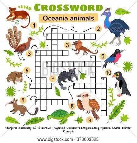 Oceania Animals Crossword. Game For Preschool Kids