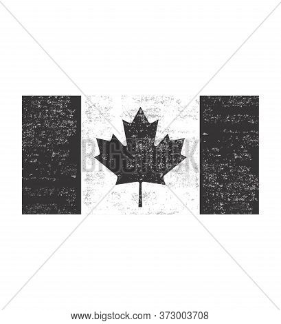 Distressed Black And White Canadian Flag .grunge Black And White Canadian Flag