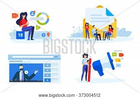 Flat Design Style Illustrations Of Digital Marketing, Video And Email Marketing, Social Media. Vecto