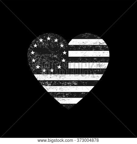 Distressed Black And White Betsy Ross Flag Heart. Distressed Black And White Betsy Ross Flag Heart