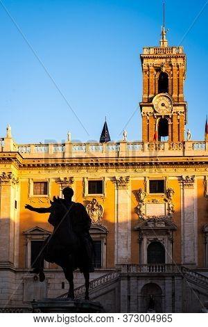 Equestrian Statue Of Marcus Aurelius On The Capitoline Square In Rome, Italy