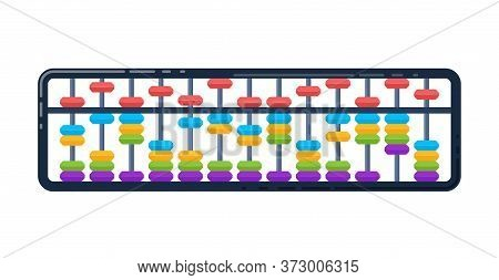 Abacus For Learning Mental Arithmetic For Kids. Traditional Counting Frame, Japanese Style. Vector I