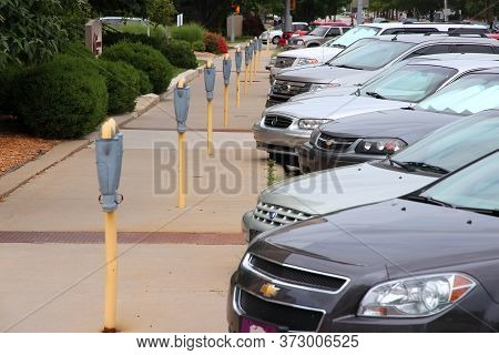 Topeka, Usa - June 25, 2013: Parking Meters In Topeka, Kansas, United States. Topeka Is The Capital