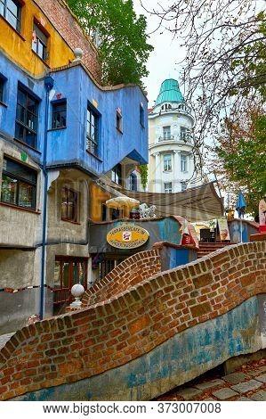 Vienna, Austria - September 2018: Fragmental View On Hundertwasser House In The City