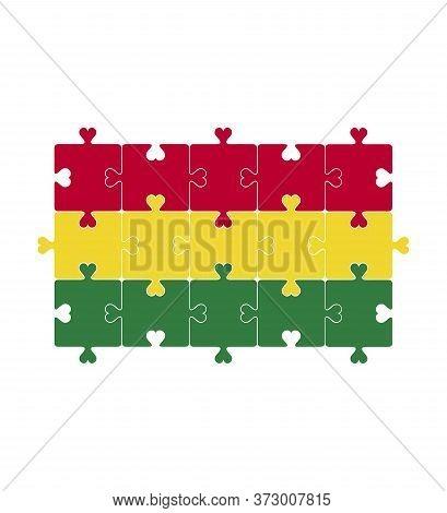 Flag Of Bolivia. Thenational Flag Of Bolivia. Bolivian Puzzle Flag