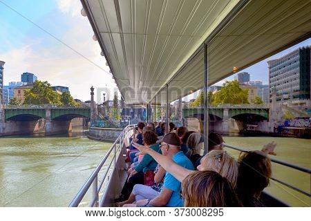 Vienna, Austria - September 2018:  Tourist On Danube Boat Cruise