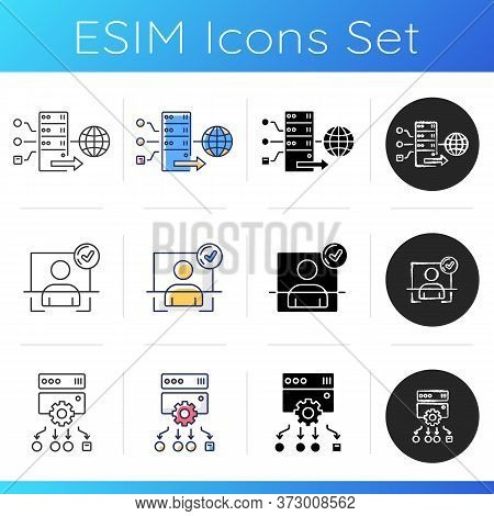 Internet Accessibility Icons Set. Secure Access, Protection Bypassing. Linear, Black And Rgb Color S