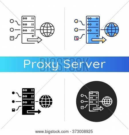Forward Proxy Icon. Internet Accessibility And Firewall Bypassing. Cyber Security. Linear Black And