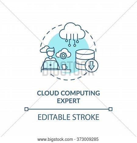 Cloud Computing Expert Turquoise Concept Icon. Database Management. Information Processing Specialis