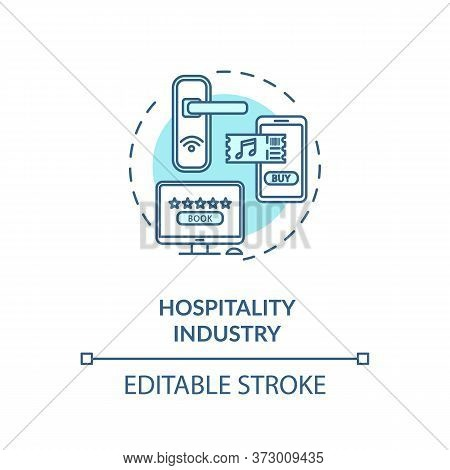 Hospitality Industry Turquoise Concept Icon. Lodging And Hotel For Tourism. Online Booking Service I
