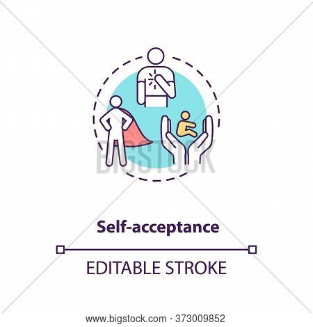 Self Acceptance Concept Icon. Confidence In Oneself. Level Of Esteem. Psychological Health. Mental W