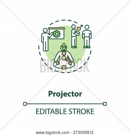 Projector Concept Icon. Focus On Relationship. Body Graph For Self Understanding. Human Design Type
