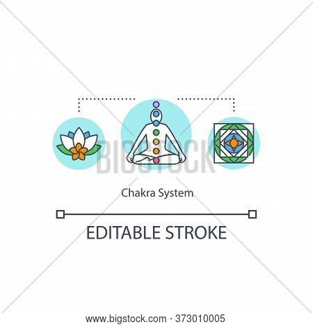 Chakra System Concept Icon. Energy Center Signs In Human Body. Meditation For Spirituality. Esoteric