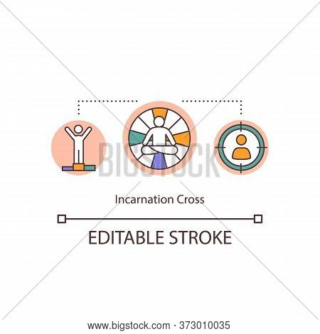 Incarnation Cross Concept Icon. Chart Human Body. Aura And Energy Channels. Individual System. Bodyg