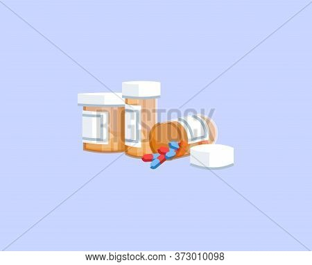 Pills Semi Flat Rgb Color Vector Illustration. Painkillers Addiction, Opioids Abuse, Opiates Depende