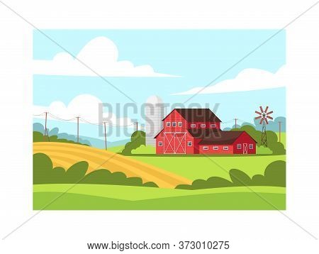 Farmland Semi Flat Vector Illustration. Local Production Of Eco Harvest. Wheat Plantation. Hills Nea