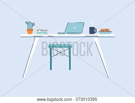 Home Workplace Semi Flat Rgb Color Vector Illustration. Table With Laptop, Documents And Snacks Isol