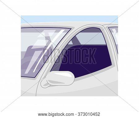 Empty Car Semi Flat Vector Illustration. Automobile Salon 2d Cartoon Interior For Commercial Use. Mo