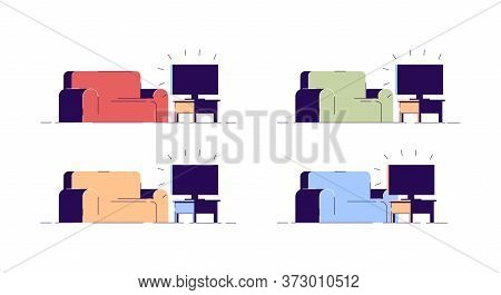 Couch And Tv Semi Flat Rgb Color Vector Illustrations Set. Different Color Sofas And Television Sets