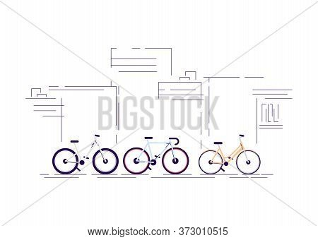 Urban Bike Ride Semi Flat Rgb Color Vector Illustration. Cruiser, Mountain And Sport Bicycles Isolat