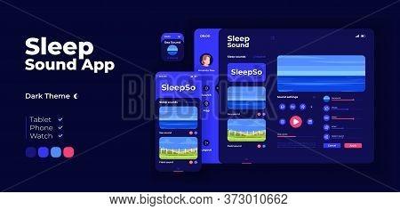 Sleep Music App Screen Vector Adaptive Design Template. Relaxing Nature Sounds For Bedtime Rest Appl