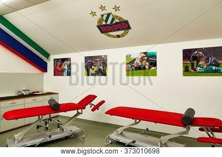 Vienna, Austria - September 2018: Medical And Recreation Room At Fc Rapid Stadium