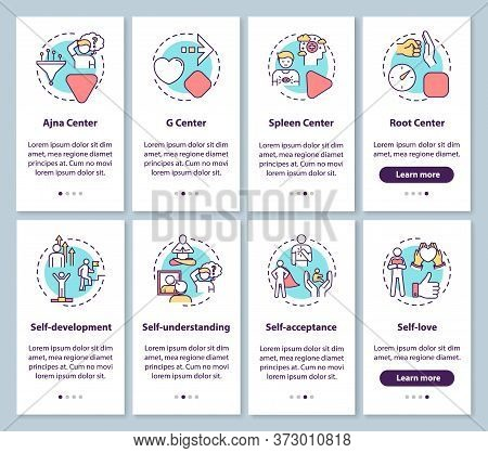 Human Design Onboarding Mobile App Page Screen With Concepts. Self Understanding. Psychological Impr