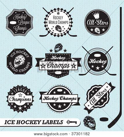 Vektor-Satz: Jahrgang Eishockey-Etiketten