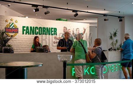 Vienna, Austria - September 2018: Fans Corner At Fc Rapid Arena